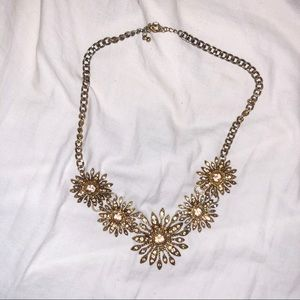 Gold flower pendant floral gem statement necklace